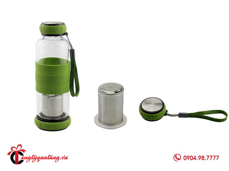 Bình nước thủy tinh có bầu lọc trà và cà phê tiện dụng Goldseee 420ml 02