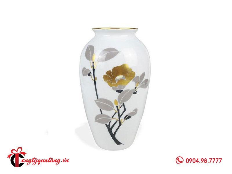 Lọ hoa chất liệu sứ mạ vàng