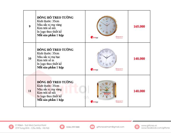 Báo giá quà tặng đồng hồ treo tường